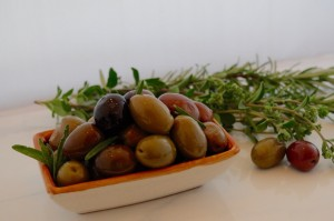 Marinated olives . . . with olive oil